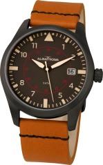 Relógio Albatroz com caixa em aço ionizado, mostrador preto e bracelete em pele castanha (pvp: 99€).