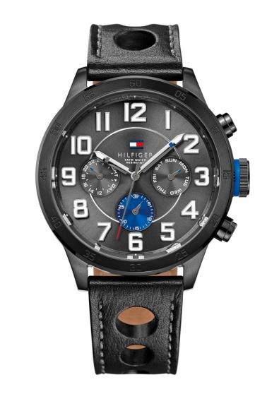Relógio com mostrador cinza metalizado e pulseira em pele, Tommy Hilfiger (pvp: €189) .