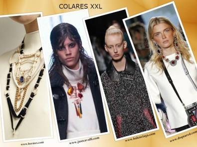 Os colares XXL vão ser a estrela da próxima estação. Eles usam-se sobre os vestidos ou blusas de gola alta. Escolha com muito cuidado porque toda a gente vai olhar para eles..