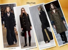 Riscas, galões e botões dourados, sobre preto ou caqui, vão deliciar quem gosta do estilo MILITAR