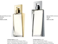 Attraction, Avon. Eau de Parfum em Spray para ela 50 ml (PRVP: 29,50€) e Eau de Toilette em Spray para Ele 75 ml (PRVP: 31,50€)