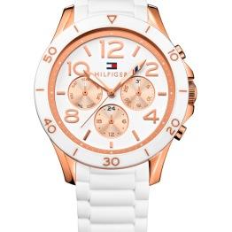 Relógio Tommy Hilfiger com mostrador branco e dourado rosa e pulseira em silicone branco (PVP:179€)