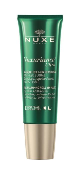 Nuxuriance Ultra, Nuxe, é uma máscara Roll-On redensificadora. Possui aplicador de massagem. Pode aplicar-se para um efeito tensor imediato, sem massagem, ou com massagem para prevenir o envelhecimento prematuro ( PVPR: €42,50).