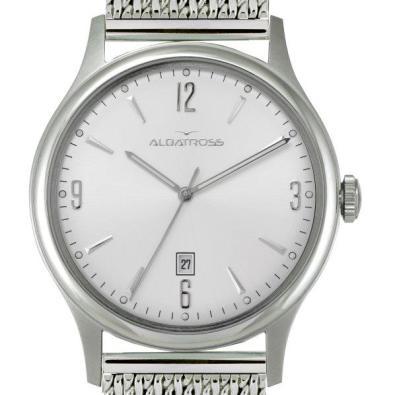 Albatroz, Vintage White, com mostrador branco e bracelete em malha de aço prateado. PVP: 99 euros